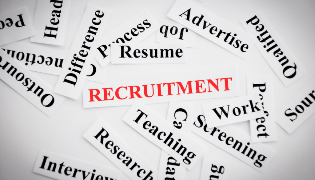 Recruitment is written in red, surrounded by words associated with recruiting in black. This showcases things that are included when you hire a recruiter.